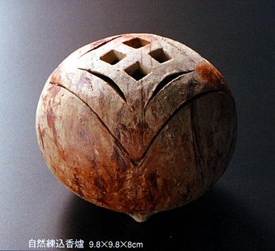 自然練込香爐 9.8×9.8×8cm